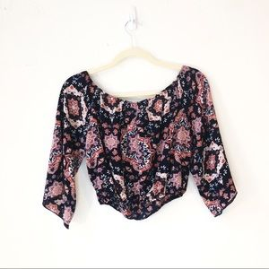 Ambaiance 3/4 sleeve crop top Off shoulder size M